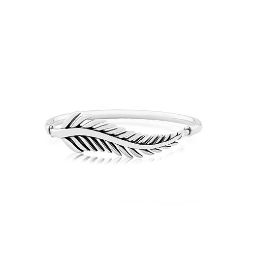 Sterling silver Statement bangle with fern design, size 19cm, from Evolve Inspired Jewellery