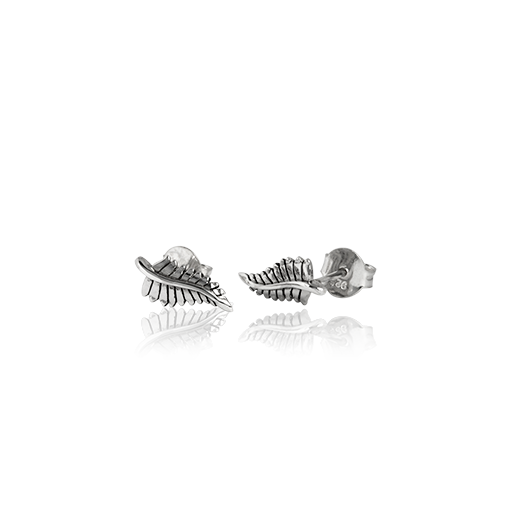 Sterling silver stud earrings featuring a fern design, from Evolve Inspired Jewellery