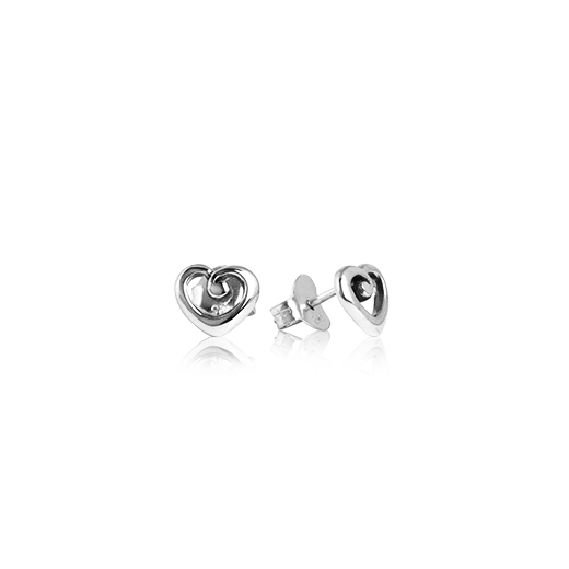 Sterling silver stud earrings with a love heart design, from Evolve Inspired Jewellery
