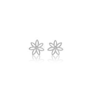 Sterling silver stud earrings featuring a daisy design, from Evolve Inspired Jewellery