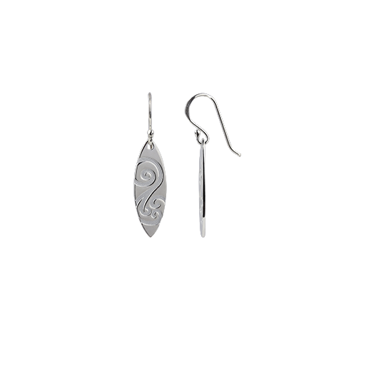Sterling silver Ocean Spirit drop earrings, meaning energy, from Evolve Inspired Jewellery