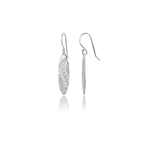 Sterling silver Coastal Fern drop earrings, meaning pride, from Evolve Inspired Jewellery