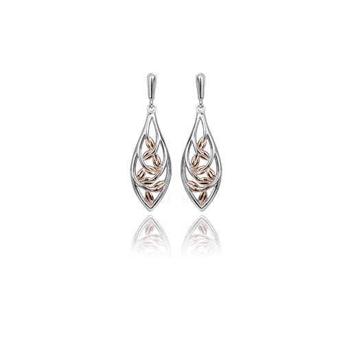 Sterling silver drop earrings with a forest vine design and highlights of 9ct rose gold, meaning family love, from Evolve Inspired Jewellery
