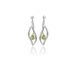Sterling silver drop earrings featuring highlights of rose gold and a peridot stone in a leaf design, meaning forever, from Evolve Inspired Jewellery
