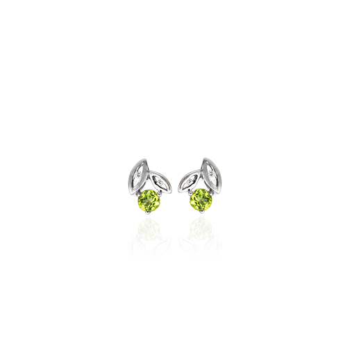 Sterling silver leaf design stud earrings featuring cubic zirconia, meaning growth, from Evolve Inspired Jewellery