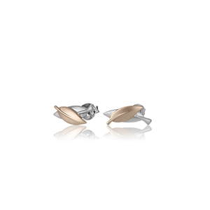 Sterling silver leaf design stud earrings featuring highlights of rose gold, meaning friendship, from Evolve Inspired Jewellery