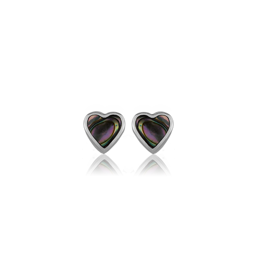Sterling silver heart shaped stud earrings featuring a paua centre, from Evolve Inspired Jewellery
