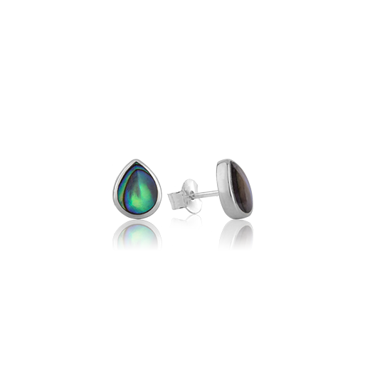 Sterling silver tear drop shaped stud earrings featuring a paua centre, from Evolve Inspired Jewellery