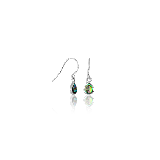 Sterling silver tear drop shaped drop earrings featuring a paua centre, from Evolve Inspired Jewellery