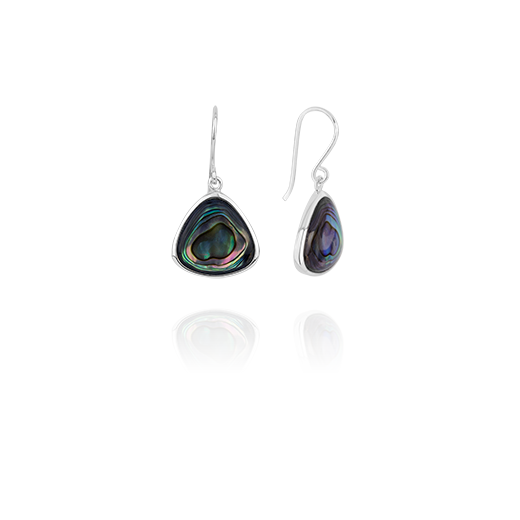 Sterling silver drop earrings featuring a paua insert, from Evolve Inspired Jewellery
