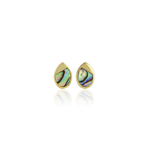 Sterling silver tear drop stud earrings featuring 14ct finishing and paua insert, from Evolve Inspired Jewellery