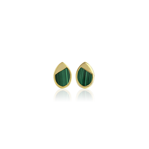 Sterling silver droplet shaped studs featuring 14ct gold finishing and Malachite insert, from Evolve Inspired Jewellery