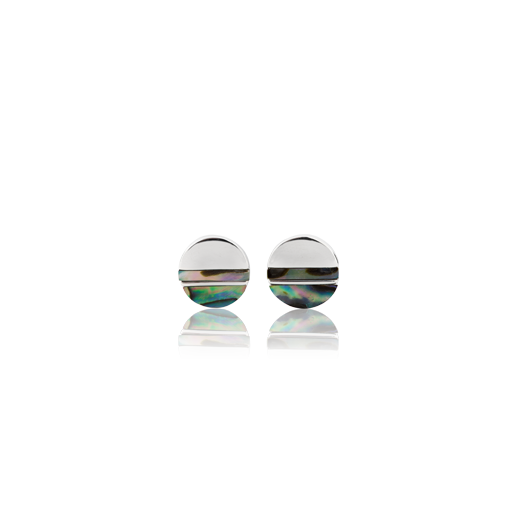 Sterling silver, round stud earrings featuring paua inserts, from Evolve Inspired Jewellery