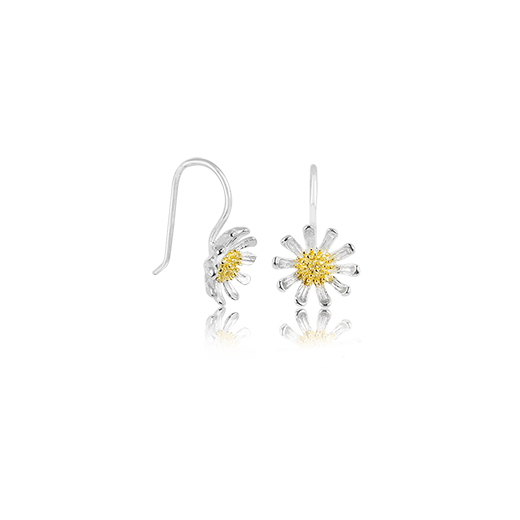 Wild Daisy Drops, silver and gold drop earrings meaning friendship from Evolve Inspired Jewellery