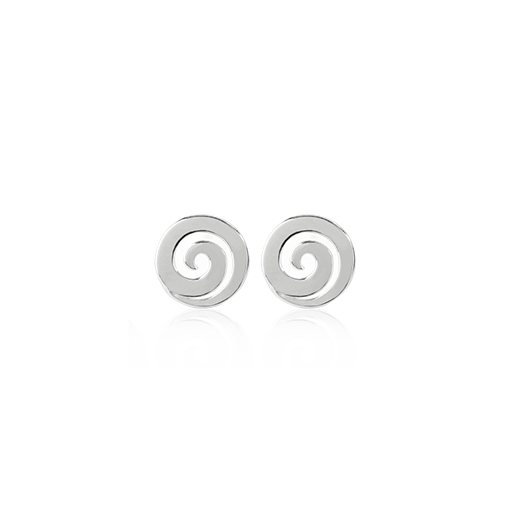 Koru Studs, silver stud earrings meaning harmony from Evolve Inspired Jewellery