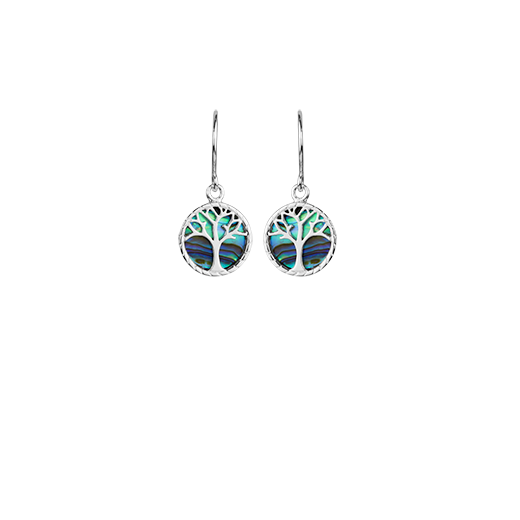 Tree of Life design drop earrings featuring New Zealand paua, meaning strength, from Evolve Inspired Jewellery