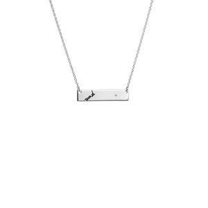 Sterling silver nz map design bar necklace, from Evolve Inspired Jewellery
