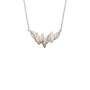 Sterling silver leaf design necklace featuring highlights of rose gold, meaning friendship, from Evolve Inspired Jewellery