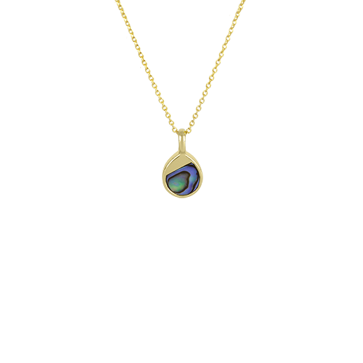 Sterling silver tear drop necklace featuring 14ct finishing and paua insert, from Evolve Inspired Jewellery