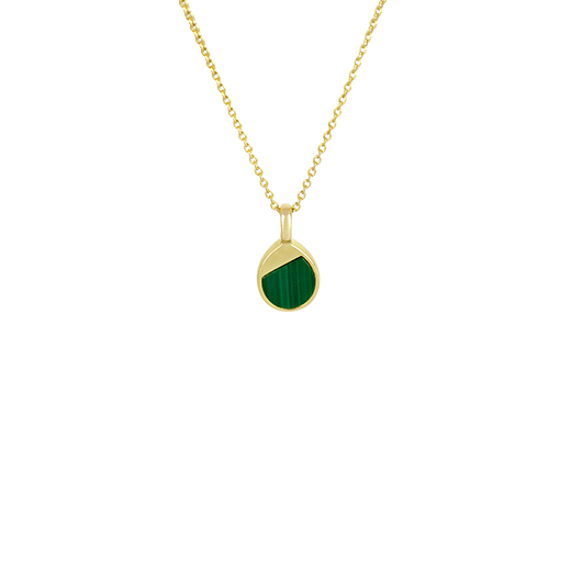 Sterling silver droplet shaped necklace featuring 14ct gold finishing and Malachite insert, from Evolve Inspired Jewellery