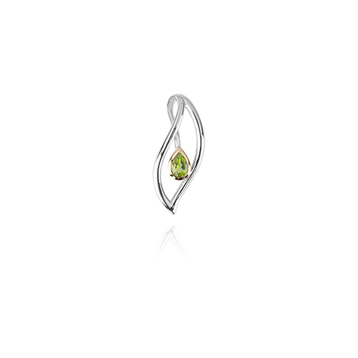 Sterling silver leaf design necklace pendant, featuring highlights of rose gold and a peridot stone, meaning forever, from Evolve Inspired Jewellery