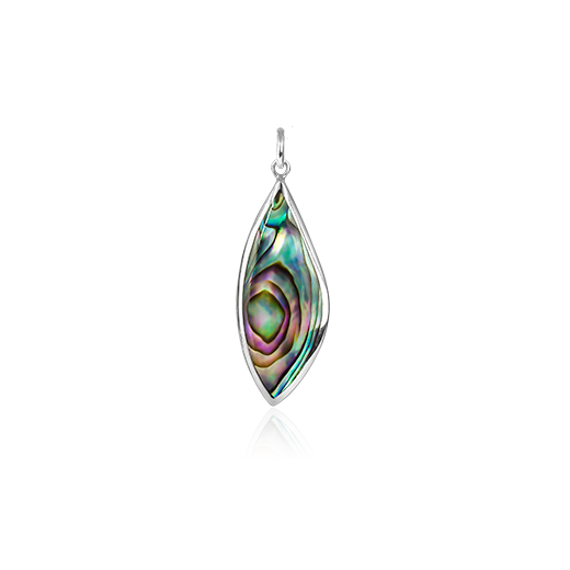 Sterling silver tear drop shaped necklace pendant, featuring a paua centre, from Evolve Inspired Jewellery