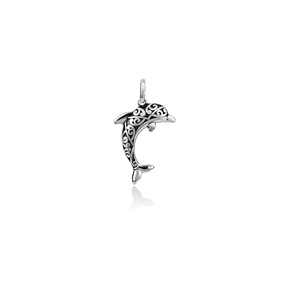 Sterling silver dolphin design necklace pendant, meaning companionship, from Evolve Inspired Jewellery