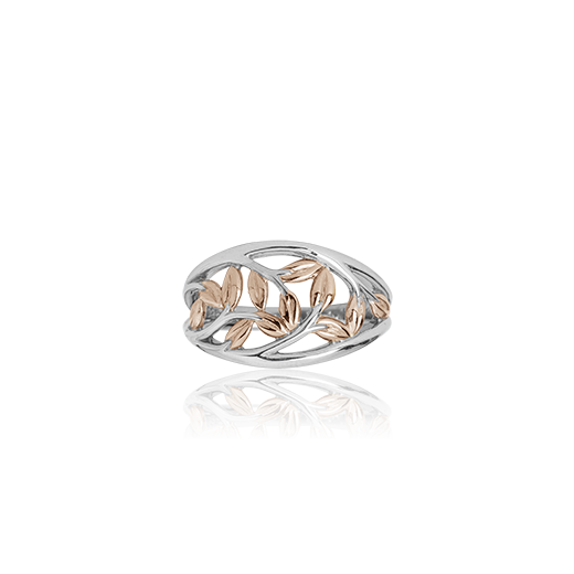 Sterling silver ring featuring 9ct rose gold highlights, meaning family love, from Evolve Inspired Jewellery