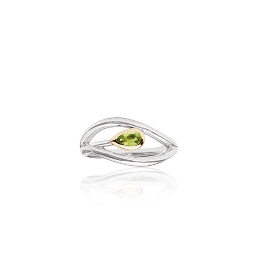 Sterling silver ring featuring highlights of rose gold and a peridot stone in a leaf design, meaning forever, from Evolve Inspired Jewellery