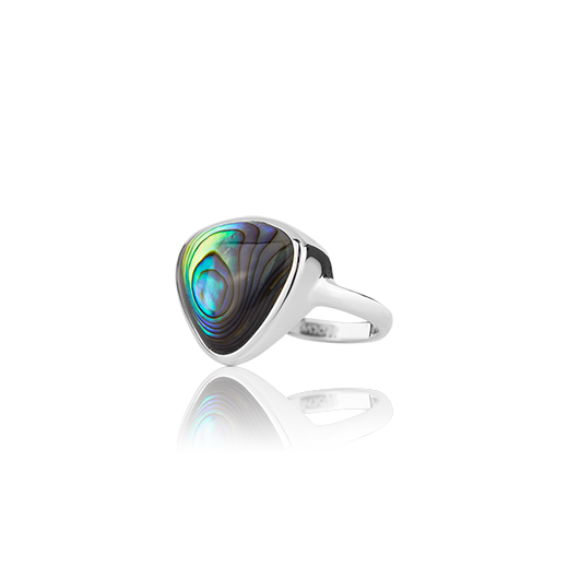 Sterling silver ring featuring a paua insert, from Evolve Inspired Jewellery