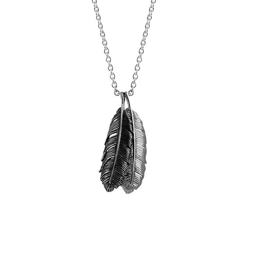Two feather design necklace pieces in polished and oxidised sterling silver, from Evolve Inspired Jewellery