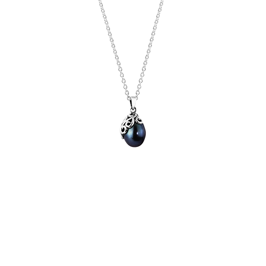 Sterling silver necklace featuring a night blue pearl, from Evolve Inspired Jewellery