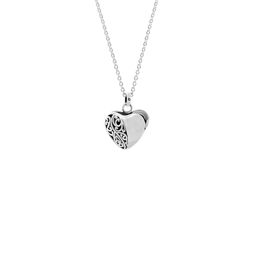 Sterling silver necklace locket featuring a koru nz jewellery design, from Evolve Inspired Jewellery