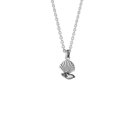 Sterling silver necklace featuring a fantail bird design and cubic zirconia insert, from Evolve Inspired Jewellery