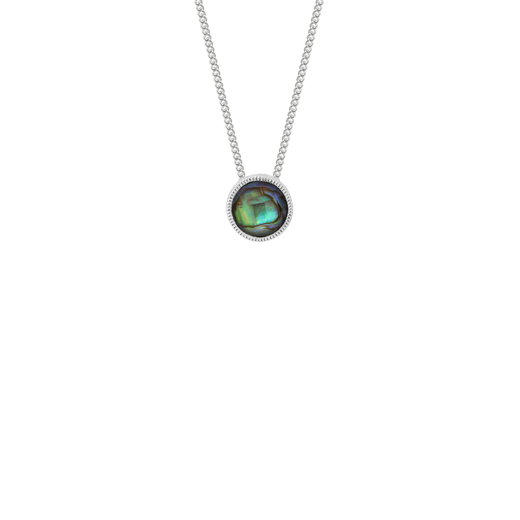Sterling silver necklace featuring a round paua insert, from Evolve Inspired Jewellery