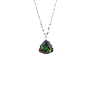 Sterling silver necklace featuring a paua insert, from Evolve Inspired Jewellery