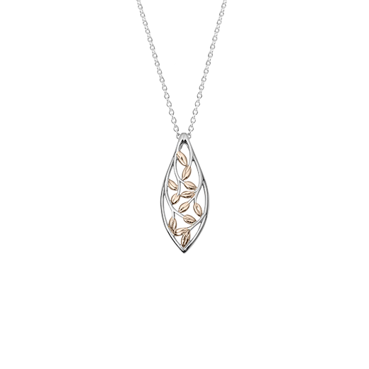 Sterling silver vine design necklace, featuring 9ct rose gold highlights, meaning family love, from Evolve Inspired Jewellery