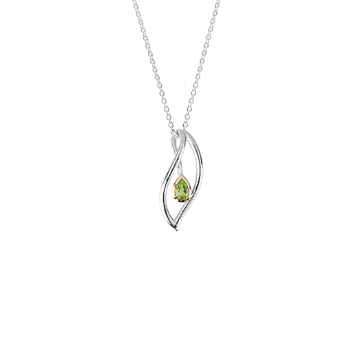 Sterling silver leaf design necklace, featuring highlights of rose gold and a peridot stone, meaning forever, from Evolve Inspired Jewellery