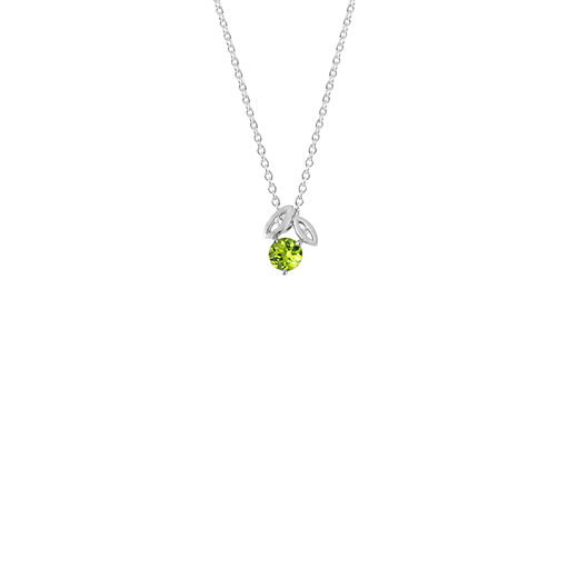 Sterling silver leaf design necklace, featuring cubic zirconia, meaning growth, from Evolve Inspired Jewellery