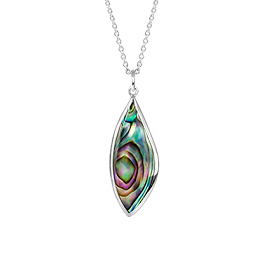 Sterling silver tear drop shaped necklace, featuring a paua centre, from Evolve Inspired Jewellery