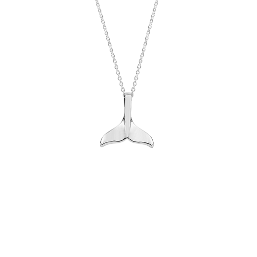 Sterling silver whale tail design necklace, meaning strength, from Evolve Inspired Jewellery