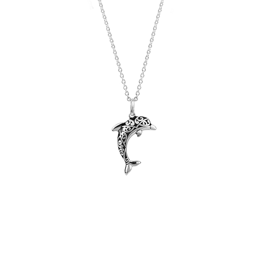 Sterling silver dolphin design necklace, meaning companionship, from Evolve Inspired Jewellery