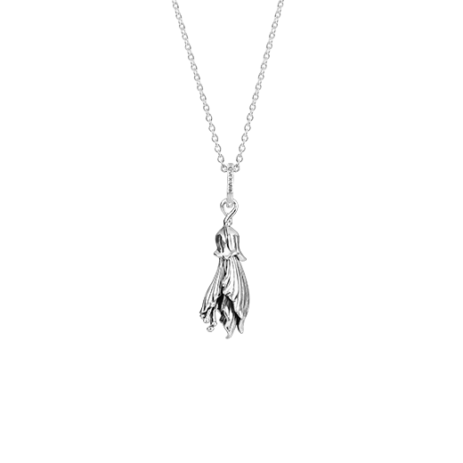 Sterling silver kowhai design necklace, meaning happiness, from Evolve Inspired Jewellery