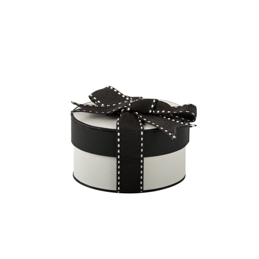 Small oval-shaped black and white jewellery gift box from Evolve Inspired Jewellery.