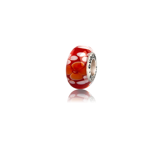 Aotearoa's Autumn, a red and orange Murano glass bead charm from Evolve Inspired Jewellery