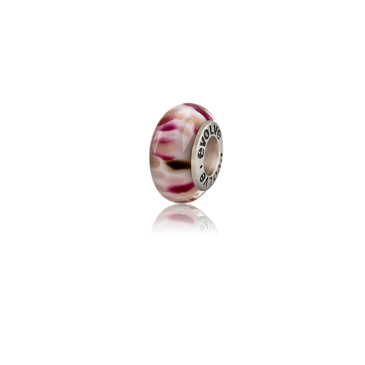 Aotearoa's Summer, a white, pink and black Murano glass bead charm from Evolve Inspired Jewellery