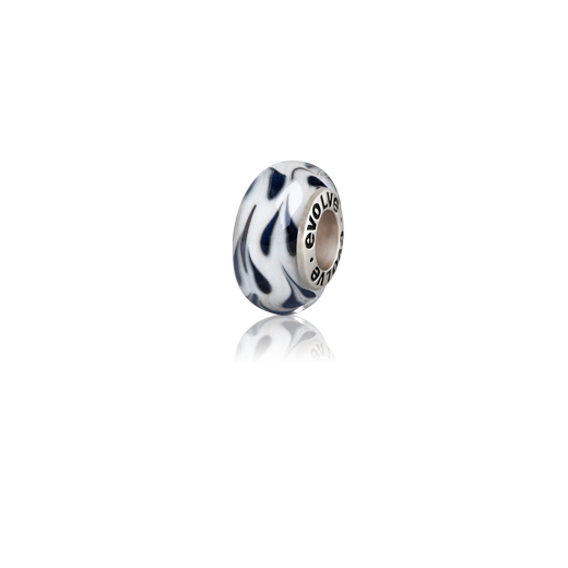 Aotearoa's Winter, a white and black Murano glass bead charm from Evolve Inspired Jewellery