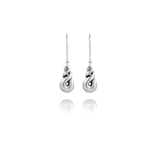 Sterling silver earrings featuring an eternity twist design, from Evolve Inspired Jewellery