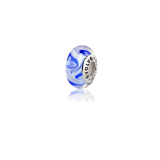 Pacific Ocean, Murano glass bead charm from Evolve Inspired Jewellery