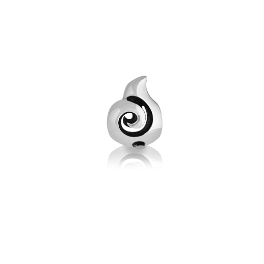 Koru, silver bead charm meaning growth from Evolve Inspired Jewellery